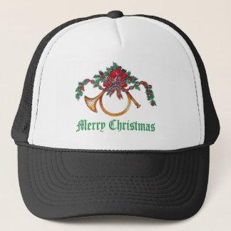 メリークリスマス-ヒイラギ、リボンおよび金管ホルン キャップ