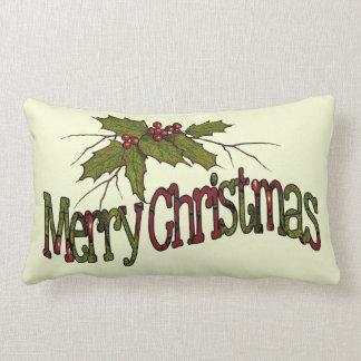 メリークリスマス、ヒイラギ、果実、小枝: 芸術 ランバークッション