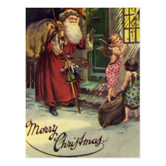 メリークリスマス、ヴィンテージ、天使のサンタ ポストカード