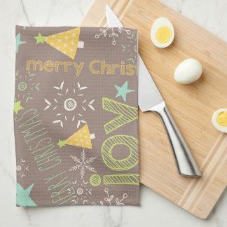 メリークリスマス、喜び、クリスマスツリーの台所 キッチンタオル