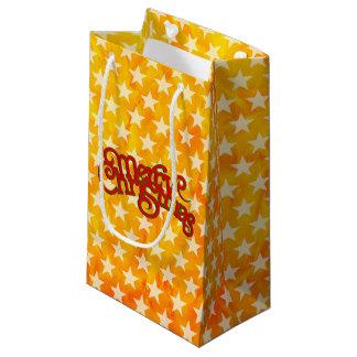 メリークリスマス-文字デザインなヴィンテージのクリスマス スモールペーパーバッグ