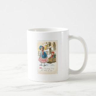 メリークリスマス、木のそりの子供 コーヒーマグカップ