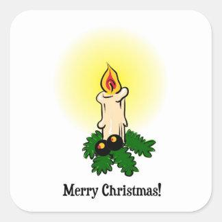メリークリスマス、燃焼(つけられた)蝋燭および葉 スクエアシール