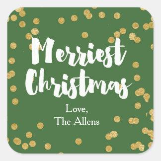 メリークリスマス-緑金ゴールドのステッカーかシール スクエアシール