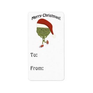 メリークリスマス! 連続したアーティチョーク ラベル