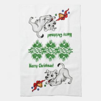 メリークリスマス! 鐘および球を持つ子犬 キッチンタオル