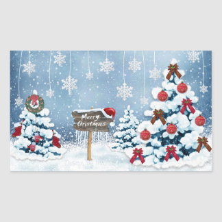 メリークリスマス 長方形シール