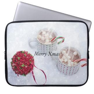 メリークリスマス-雪のチョコレート ラップトップスリーブ