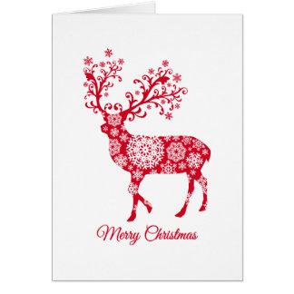 メリークリスマス、雪片を持つアカシカ グリーティングカード