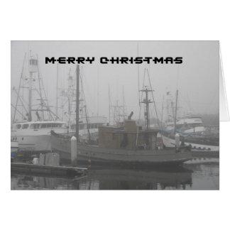メリークリスマス-霧深いサンディエゴでつながれるボート カード