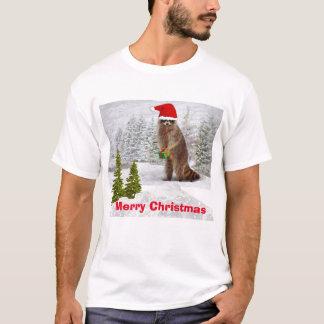 メリークリスマスlおもしろいなアライグマのTシャツ Tシャツ