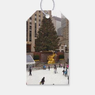 メリークリスマスNYCロックフェラーの中心の木のラベル ギフトタグ