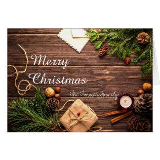 メリークリスマスPineconesおよび木の休日カード カード