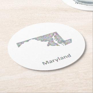 メリーランドの地図 ラウンドペーパーコースター