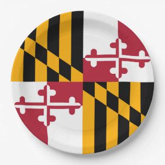 メリーランドの州の旗のお祝いのデザイン ペーパープレート