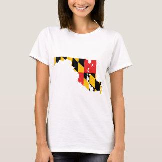 メリーランドの旗の地図 Tシャツ