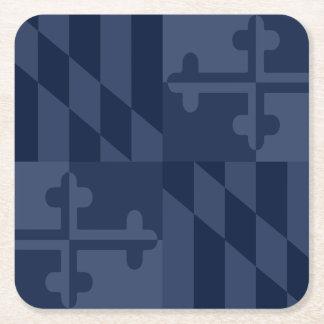 メリーランドの旗の白黒コースター-濃紺 スクエアペーパーコースター