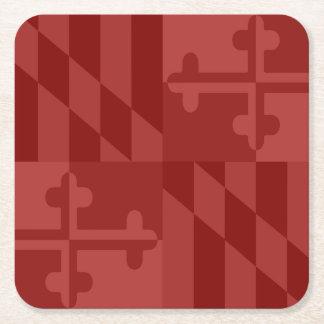 メリーランドの旗の白黒コースター-赤 スクエアペーパーコースター