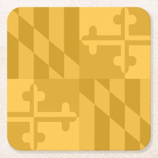 メリーランドの旗の白黒コースター-黄色 スクエアペーパーコースター