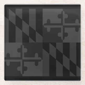 メリーランドの旗の白黒コースター-黒 ガラスコースター