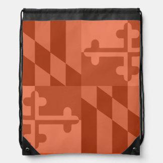 メリーランドの旗の白黒バッグ-オレンジ ナップサック