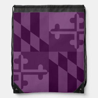 メリーランドの旗の白黒バッグ-プラム ナップサック