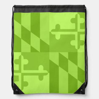 メリーランドの旗の白黒バッグ-ライムグリーン ナップサック