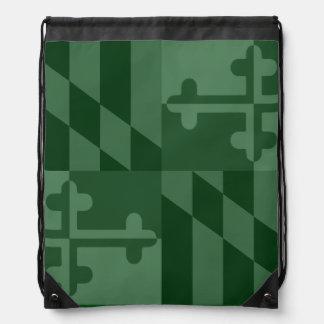 メリーランドの旗の白黒バッグ-深緑色 ナップサック