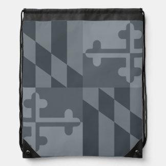 メリーランドの旗の白黒バッグ-灰色 ナップサック