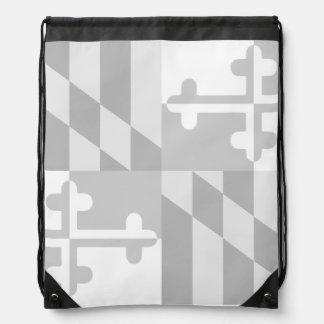 メリーランドの旗の白黒バッグ-白 ナップサック