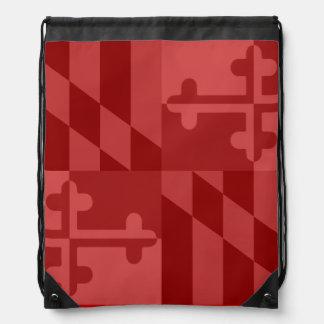 メリーランドの旗の白黒バッグ-赤 ナップサック
