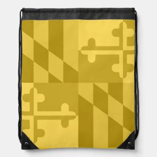 メリーランドの旗の白黒バッグ-黄色 ナップサック