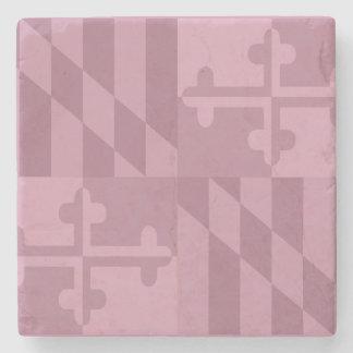 メリーランドの旗の白黒大理石のコースター-ピンク ストーンコースター