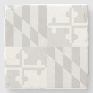 メリーランドの旗の白黒大理石のコースター-白 ストーンコースター