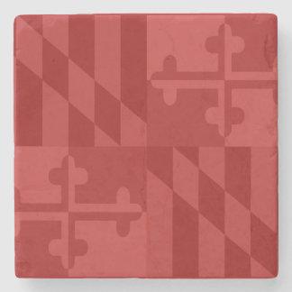 メリーランドの旗の白黒大理石のコースター-赤 ストーンコースター