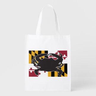 メリーランドの旗またはカニのエコバッグ エコバッグ