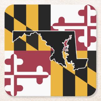 メリーランドの旗または州のコースター スクエアペーパーコースター