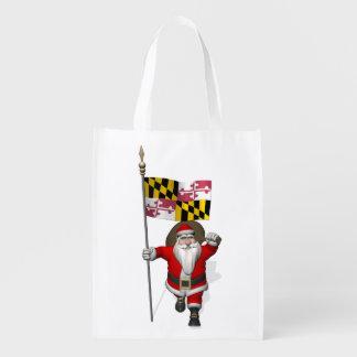 メリーランドの旗を持つサンタクロース エコバッグ