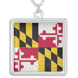 メリーランドの旗 シルバープレートネックレス