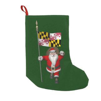 メリーランドを訪問しているすてきなサンタクロース スモールクリスマスストッキング