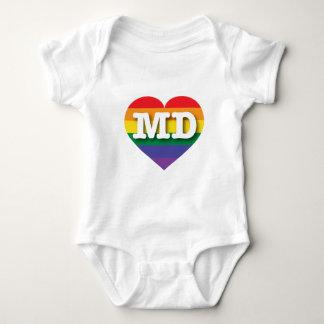 メリーランドゲイプライドの虹のハート-大きい愛 ベビーボディスーツ