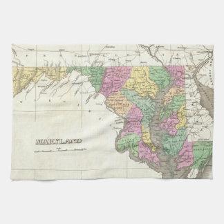 メリーランド(1827年)のヴィンテージの地図 キッチンタオル