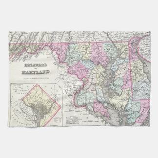 メリーランド(1855年)のヴィンテージの地図 キッチンタオル