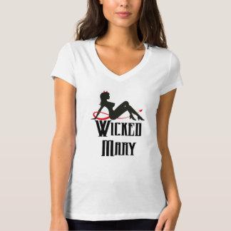 メリー悪賢い女性のV首のワイシャツ Tシャツ