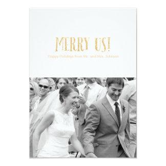 メリー私達! |の休日の写真のカードグリッター及び花弁 カード