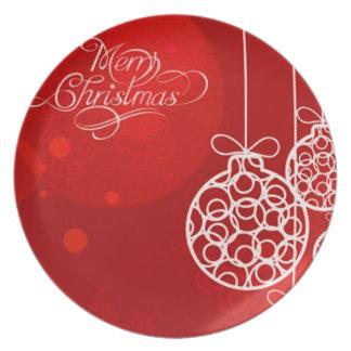 メリー クリスマス 球 4 パーティー皿