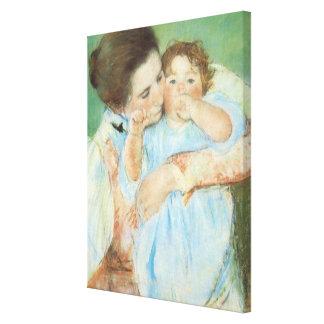 メリーCassattのヴィンテージのファインアート著母そして子供 キャンバスプリント