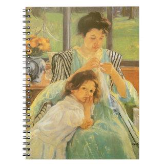メリーCassattのヴィンテージの芸術著若い母裁縫 ノートブック