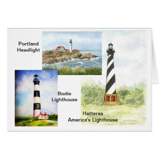 メリーDunham著東海岸の灯台水彩画 カード