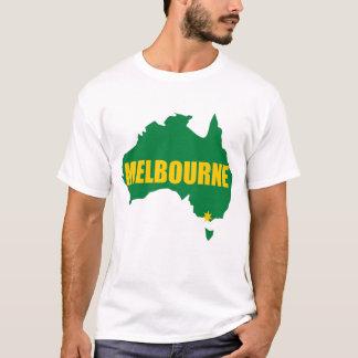 メルボルンの緑および金ゴールドの地図のTシャツ Tシャツ